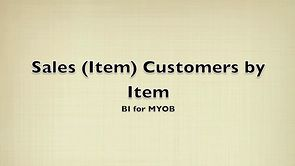 Sales (Item) Customers by Item